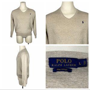 Polo Ralph Lauren Pima Cotton V-Neck Sweater Lg